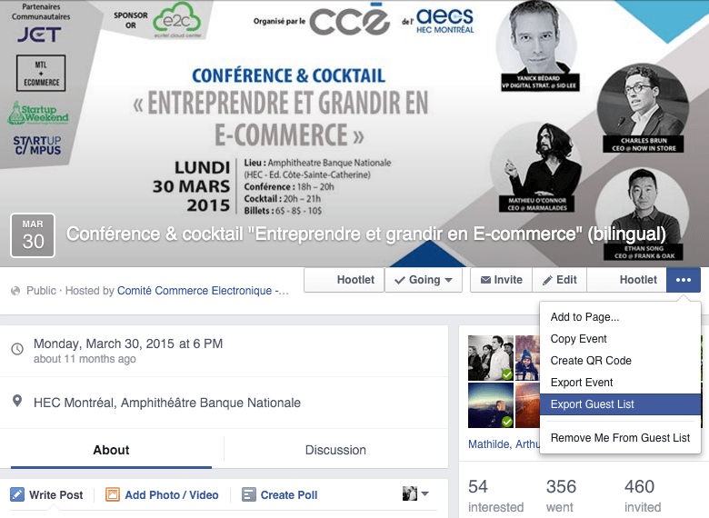 Export Facebook Event guest list