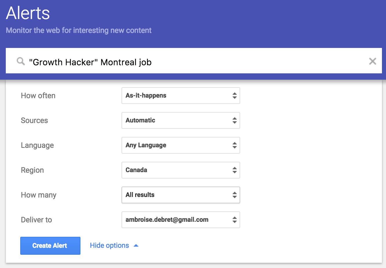 Google Alert Job