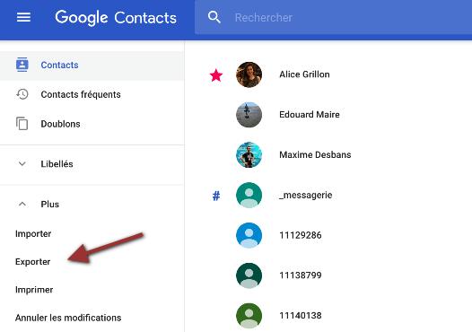 Google Contacts export