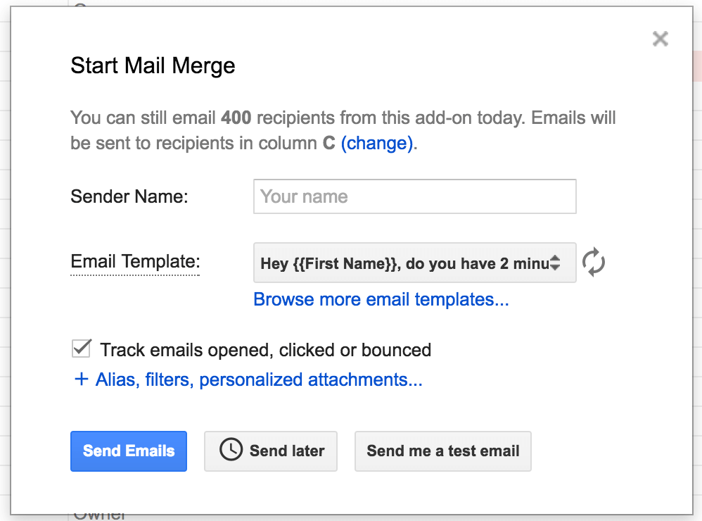 yet another mail merge settings