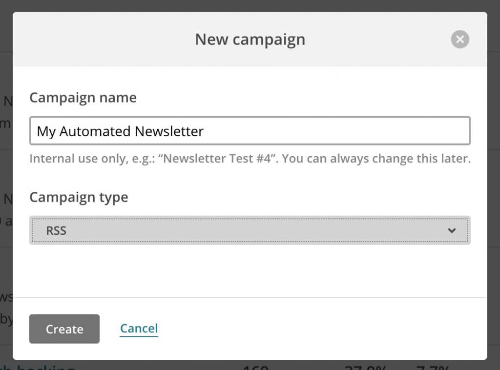 Automated newsletter Mailchimp RSS