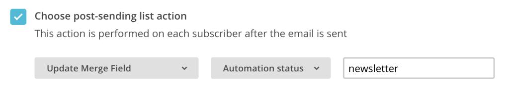 post-sending list action update merge field Mailchimp
