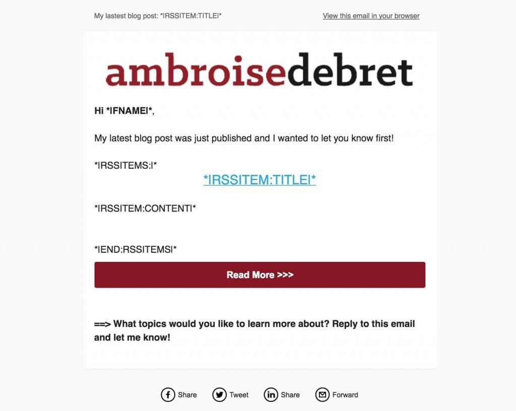 Mailchimp RSS design html