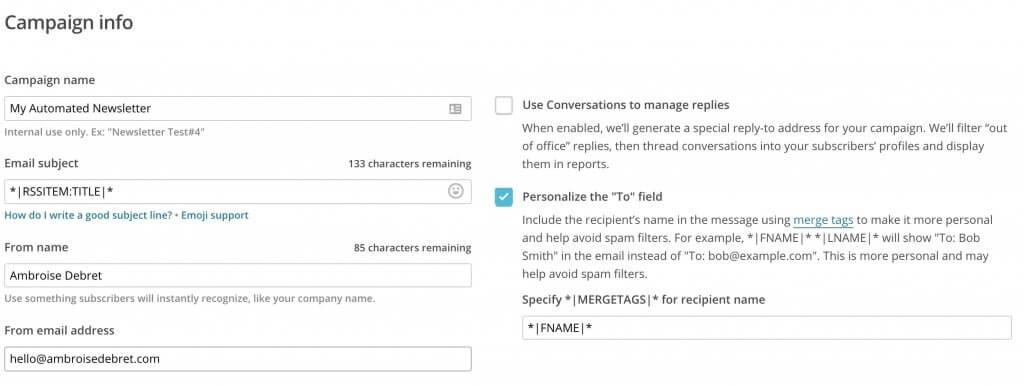 Mailchimp RSS setup
