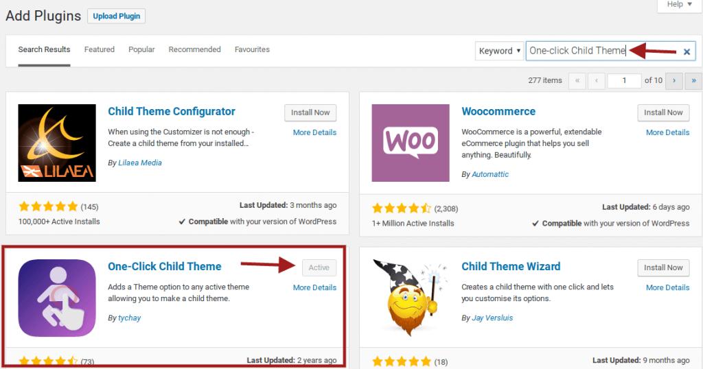 once-click child theme wordpress plugin