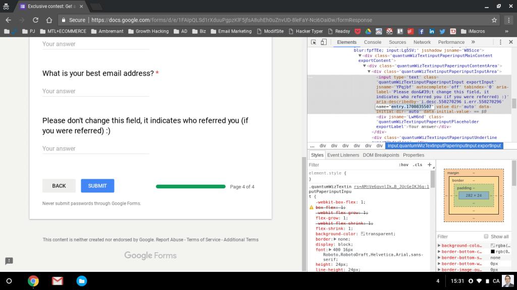 Inspect element google form parameter