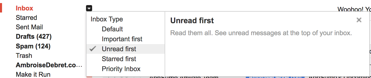 Gmail unread first